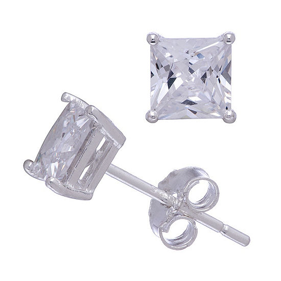 Diamonart 1/2 CT. T.W. White Cubic Zirconia Sterling Silver Square Stud Earrings
