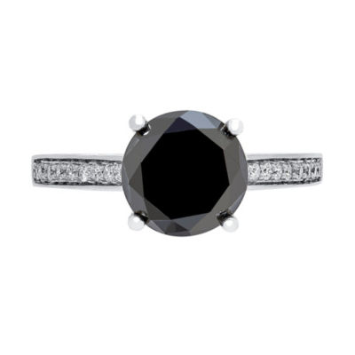 Womens Color Enhanced Black 3 5/8 CT. T.W. Diamond 14K Gold Engagement Ring