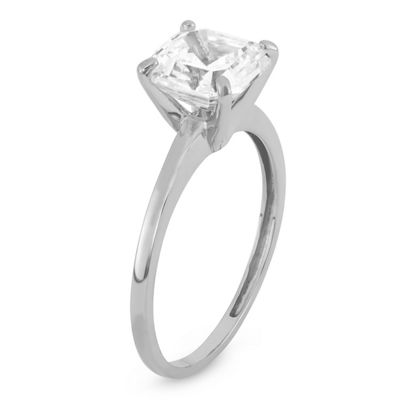 Womens 4 CT. T.W. White Cubic Zirconia 10K White Gold Solitaire Engagement Ring