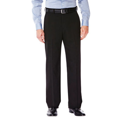 J.M. Haggar Premium Stretch Sharkskin Classic Fit Flat Front Black Suit Pant