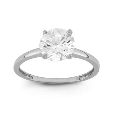 Diamonart Womens 2 CT. T.W. Round White Cubic Zirconia 10K Gold Engagement Ring