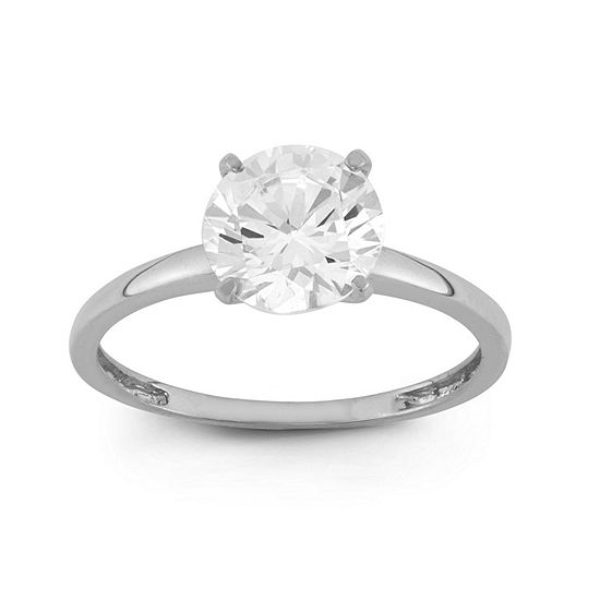 Diamonart Womens 2 CT. T.W. White Cubic Zirconia 10K White Gold Engagement Ring