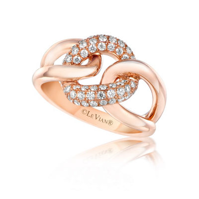 Grand Sample Sale™ by Le Vian® Strawberry N' Vanilla™ Link'ing™ Vanilla Diamonds® Ring in 14k Strawberry Gold®