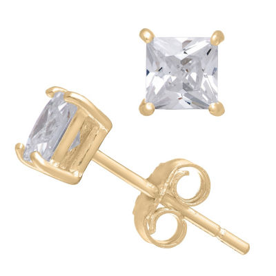 Diamonart 1/3 CT. T.W. White Cubic Zirconia 10K Gold Over Silver Square Stud Earrings