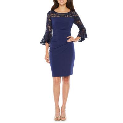 Blu Sage 3/4 Sleeve Sheath Dress