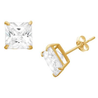 Diamonart 1 1/2 CT. T.W. White Cubic Zirconia Square Stud Earrings