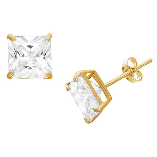 Diamonart 1 1/2 CT. T.W. White Cubic Zirconia 10K Gold Over Silver Square Stud Earrings