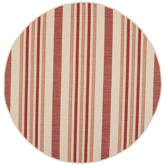 Safavieh Courtyard Collection Ercan Stripe Indoor/Outdoor Round Area Rug
