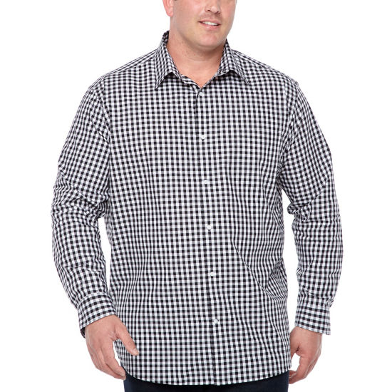 Claiborne Long Sleeve Windowpane Button-Front Shirt-Big and Tall