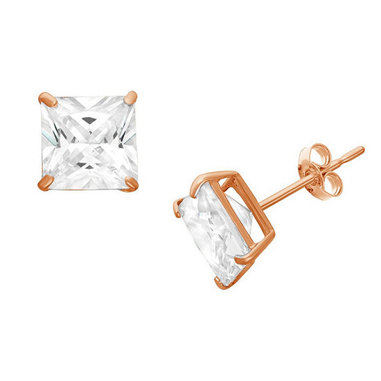 Diamonart 3/4 CT. T.W. White Cubic Zirconia 10K Rose Gold Over Silver Square Stud Earrings