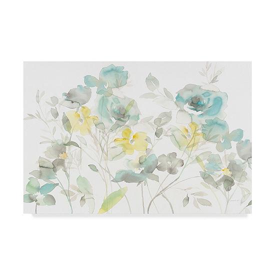 Trademark Fine Art Danhui Nai Aqua Roses Shadows Giclee Canvas Art