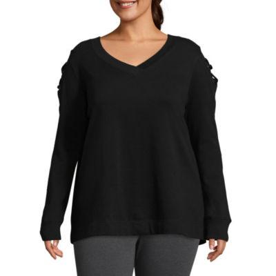 Xersion Cold Shoulder Lace Up Sweatshirt - Plus
