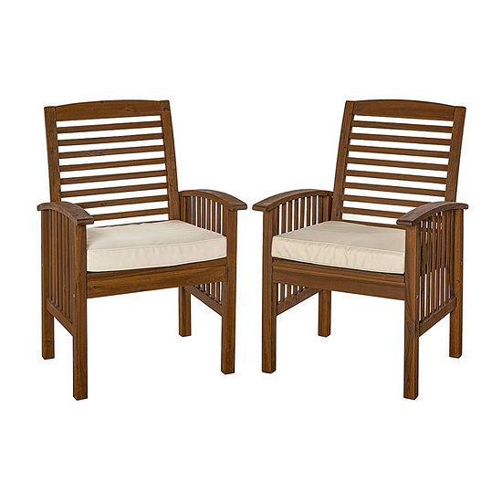 Jcpenney Furniture Dining Room Sets: Acacia Wood Set Of 2 Patio Dining Chairs With Cushions