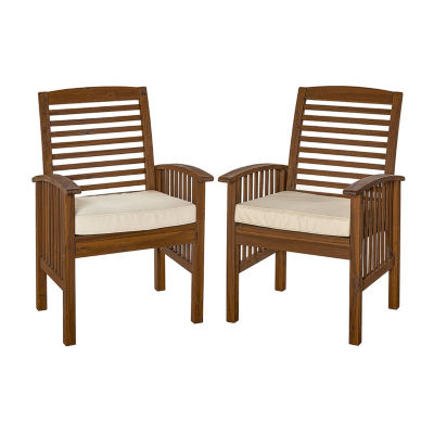 Charmant Acacia Wood Set Of 2 Patio Dining Chairs With Cushions
