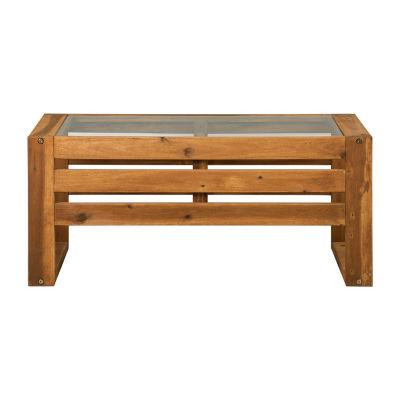 Open Side Wood Patio Coffee Table