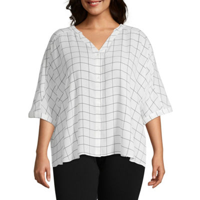Worthington Elbow Sleeve Split Crew Neck Geometric T-Shirt-Womens Plus