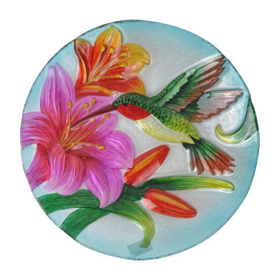 Peaktop Outdoor 18-Inch Hummingbird Fusion Glass Bird Bath
