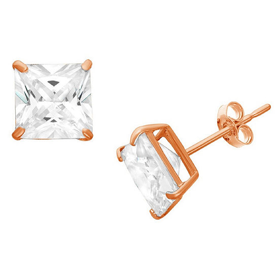 Diamonart 1 1/2 CT. T.W. White Cubic Zirconia 10K Rose Gold Over Silver Square Stud Earrings