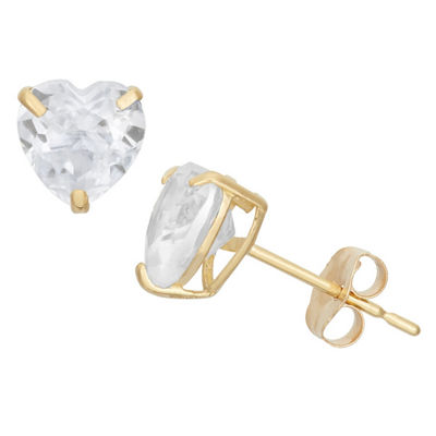 Diamonart 1 1/2 CT. T.W. White Cubic Zirconia 10K Gold Over Silver Heart Stud Earrings