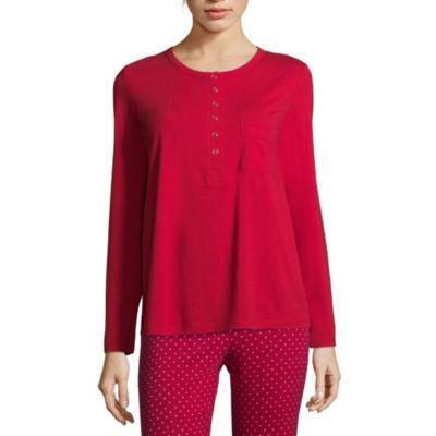 Liz Claiborne Knit Long Sleeve Pajama Top