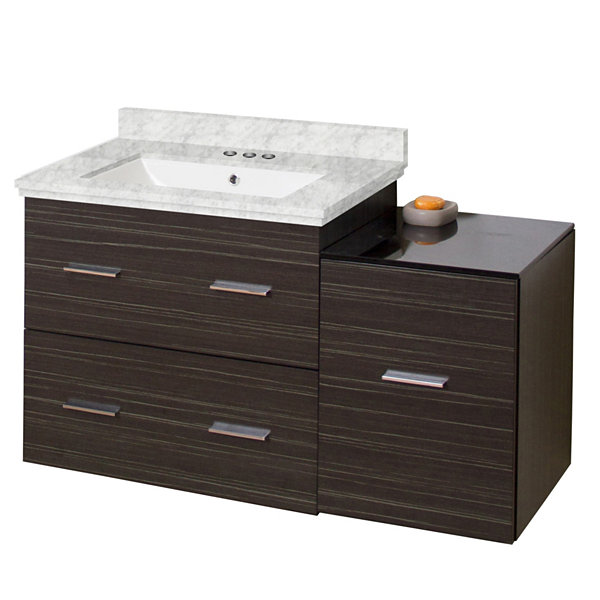 37.75-in. W Wall Mount Dawn Grey Vanity Set For 3H4-in. Drilling Bianca Carara Top White UM Sink