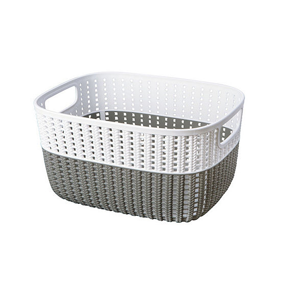 Sailor Knot Storage Tote With White Rim-Large-15X11X7 Inch- 15Lt. - Grey/White