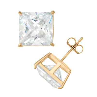 Diamonart 2 1/4 CT. T.W. White Cubic Zirconia 10K Gold Over Silver Square Stud Earrings