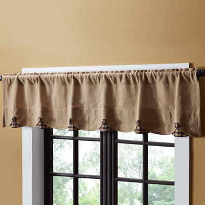 Rustic & Lodge Window Burlap Check Scalloped Valance