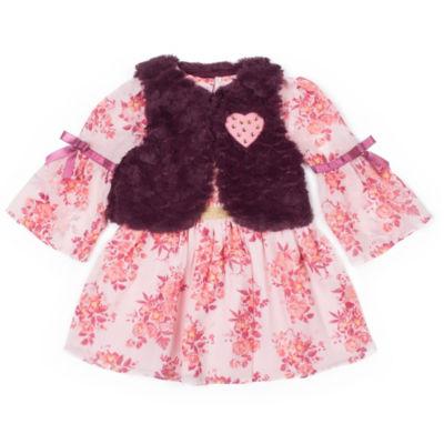 Little Lass Long Sleeve Dress Set - Toddler Girls