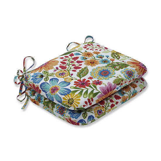 Pillow Perfect Set of 2 Gregoire Prima Rounded Corners Patio Seat Cushion