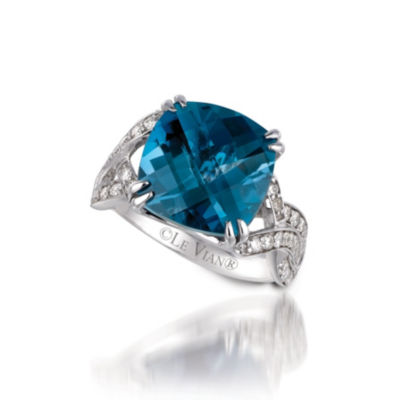 LIMITED QUANTITIES Le Vian Grand Sample Sale™ Ring featuring Deep Sea Blue Topaz™, Vanilla Diamonds® set in 14K Vanilla Gold®