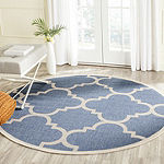 Safavieh Courtyard Collection Gina Geometric Indoor/Outdoor Round Area Rug