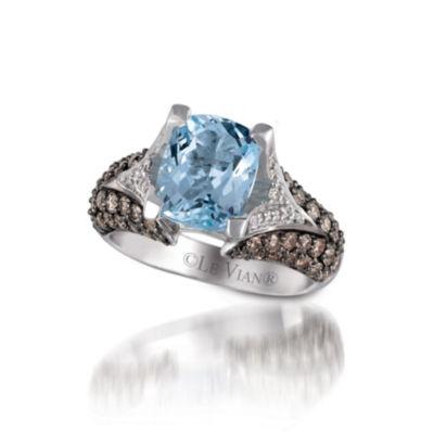 Grand Sample Sale™ by Le Vian® Sea Blue Aquamarine® and Chocolate & Vanilla Diamonds™ Ring in 14k Vanilla Gold®