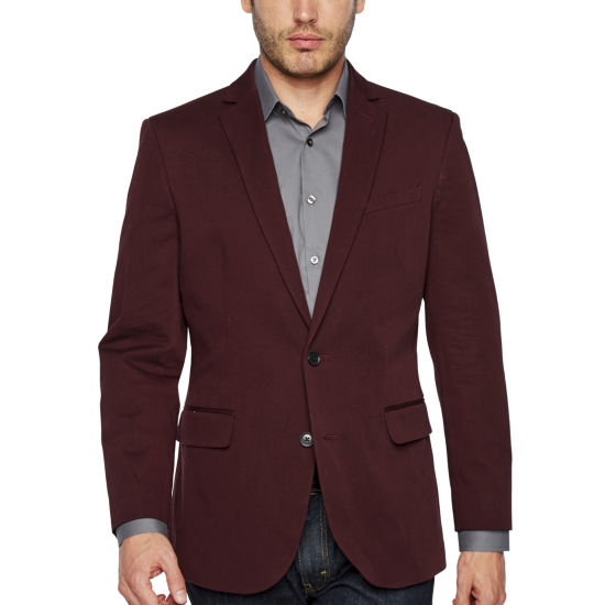 JF J.Ferrar 360 Everyday Stretch Burgundy Classic Fit Sport Coat