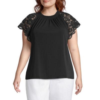 Worthington Short Lace Sleeve Knit Blouse - Plus