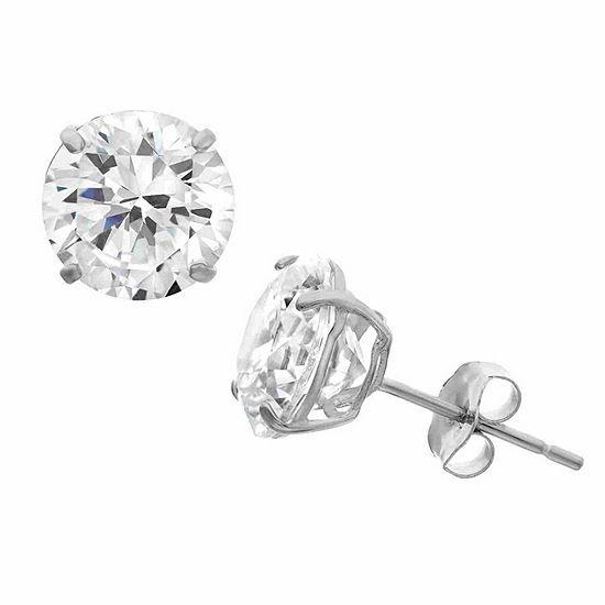 Diamonart 1 1/2 CT. T.W. White Cubic Zirconia Sterling Silver Round Stud Earrings