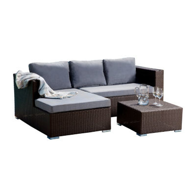 Normanni Outdoor Wicker Patio Sectional Set With Cushions