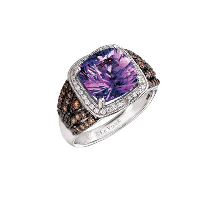 Grand Sample Sale™ by Le Vian® Grape Amethyst™ and Chocolate & Vanilla Diamonds™ Ring in 14k Vanilla Gold®