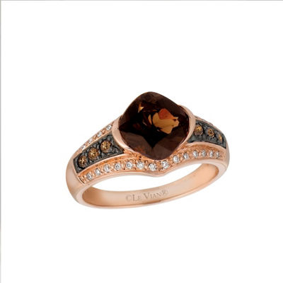 Grand Sample Sale™ by Le Vian® Chocolatier® Chocolate Quartz® and Chocolate & Vanilla Diamonds™ Ring in 14k Strawberry Gold®
