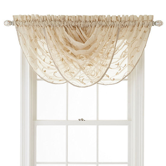JCPenney Home Harmon Sheer Rod-Pocket Waterfall Valance