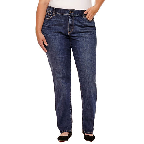 St. John's Bay Straight Leg Jeans Plus