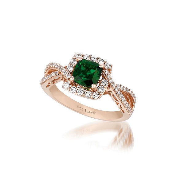 LIMITED QUANTITIES Le Vian Grand Sample Sale™ Ring featuring Pistachio Diopside®, Vanilla Diamonds® set in 14K Strawberry Gold®