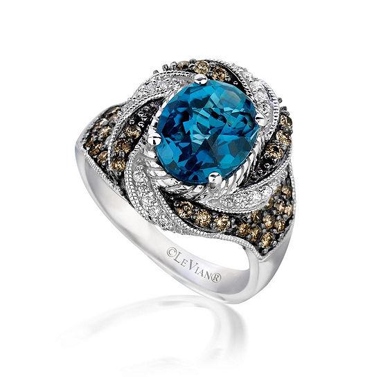 LIMITED QUANTITIES Le Vian Grand Sample Sale™ Ring featuring Blue Topaz, Chocolate Diamonds®, Vanilla Diamonds® set in 14K Vanilla Gold®