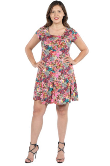24Seven Comfort Apparel Margaret Pink Floral Fit and Flare Mini Dress - Plus