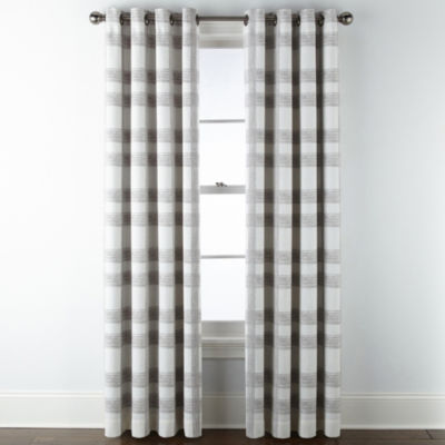 JCPenney Home Sullivan Plaid Blackout Grommet-Top Curtain Panel