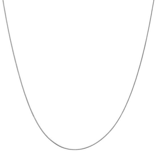 "10K White 14-24"" Gold Solid Box Chain Necklace"