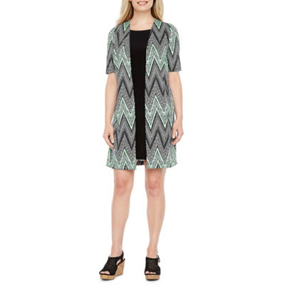 Perceptions Short Sleeve Faux Jacket Dress