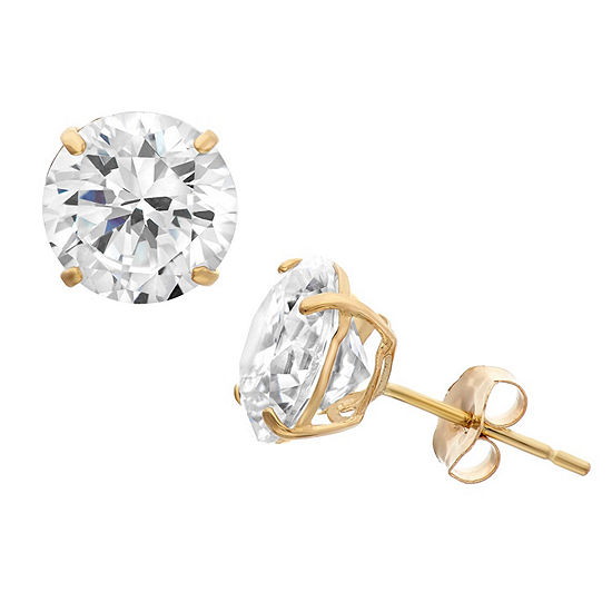 Diamonart 1 1/2 CT. T.W. White Cubic Zirconia 10K Gold Over Silver Round Stud Earrings
