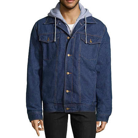 Victory Fleece Lined Denim Jacket with Hood, Small , Blue
