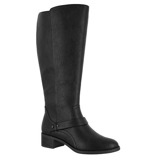 Easy Street Womens Jewel Plus Block Heel Zip Riding Boots